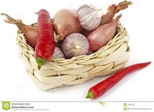 onion, garlic, red pepper